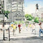 Praça 7 – Sábado de Manhã Aquarela s/ cartão 36 x 54 cm, 2002.