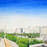 Vista parcial de BH – Viaduto Aquarela s/ cartão 36 x 54 cm, 2002.
