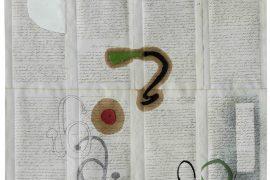 alef, Óleo sobre documentos Cartoriais, 37 x 45 cm, 2016