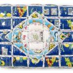 Marcos Cardoso série Lembranças do meu Brasil Objeto de parede – rótulos de embalagens recortados, costurados, recheados e acolchoados com 33 x 45cm, 2004