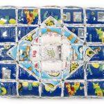 Marcos Cardoso Série Lembranças do meu Brasil Objeto de parede –Rótulos de embalagens recortados, costurados, recheados e acolchoados 33 x 45 cm, 2004