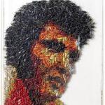 Camille Kachani Elvis comido pelos grilos Grilos secos, tinta automotiva, cx de acrílico 42 x 52 cm, 2006