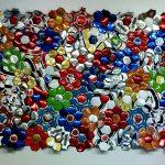 Felipe Barbosa, Pacthwor, Bolas de futebol abertas e recosturadas, 122 x 175 cm,2011.