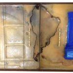 Orbis Descriptio com tratado de tordesilhas, série Fronteirícios, Gaveta de arquivo de ferro, encaustica, molas, folha de cobre, gesso, e ferragem, 10 x 61 x 44 cm, 1999