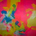 Marcelo Jacome Sem Título – Série Desdobramentos Colagem, papel de seda tingido, adesivo PVA sobre compensado 160 x 160 cm, 2012.