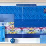 Bob N, Pancetti Blue Dub, interferências sobre catálogos da exposição Bob N Mam na página da reprodução da moldura parra a obra de Pancetti, 45 x 144 cm, 2013.