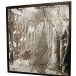 Ricardo Becker, Cisco, Espelho, vidro, galhos e talco, 100 x 100 cm, 2013.