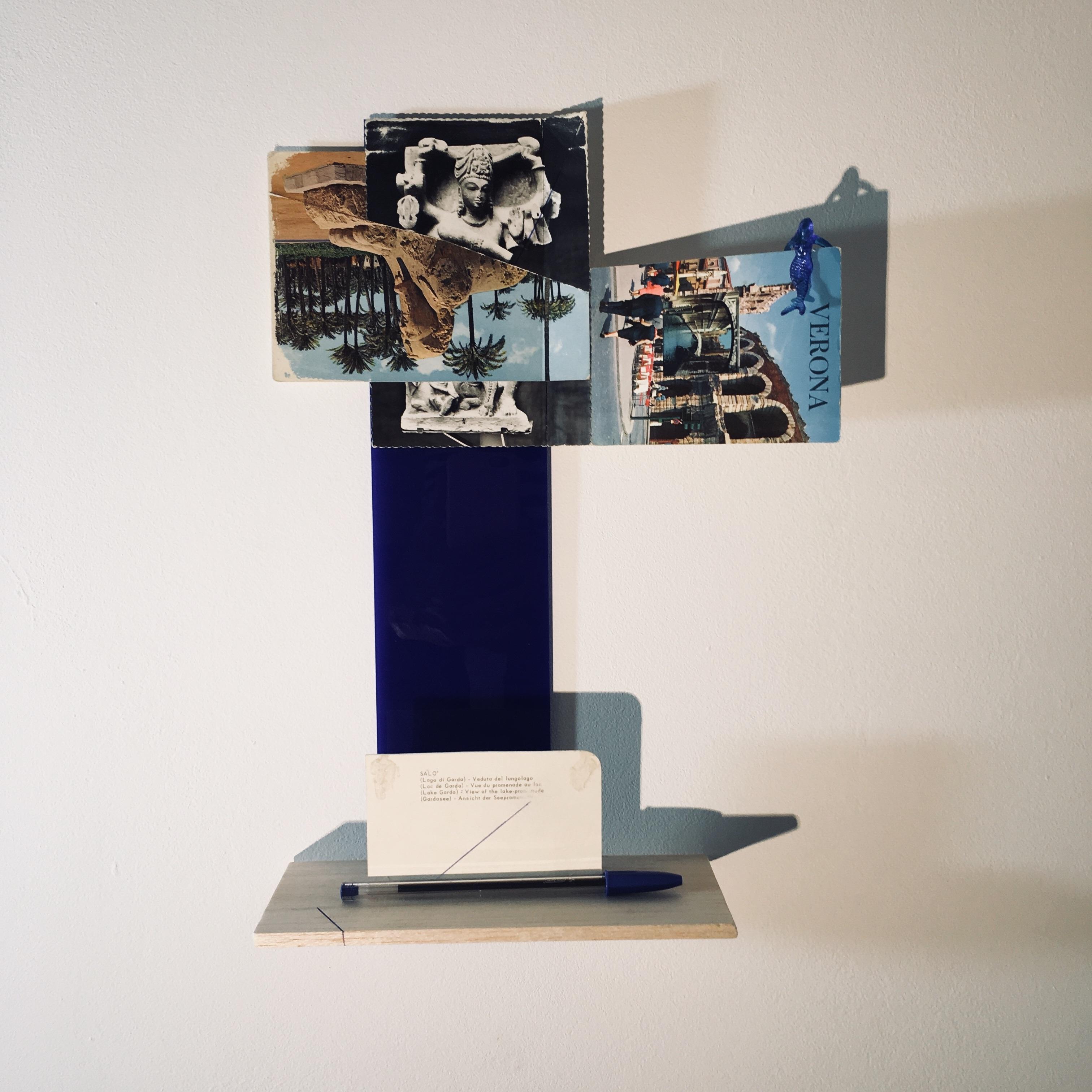 Gê Orthof, Máquinas mínimas, Salo' çiva verona sphinx, Acrílico, postais, balsa e miniatura plástica, desenho-assemblage, 35 x 25 x 9 cm, 2018