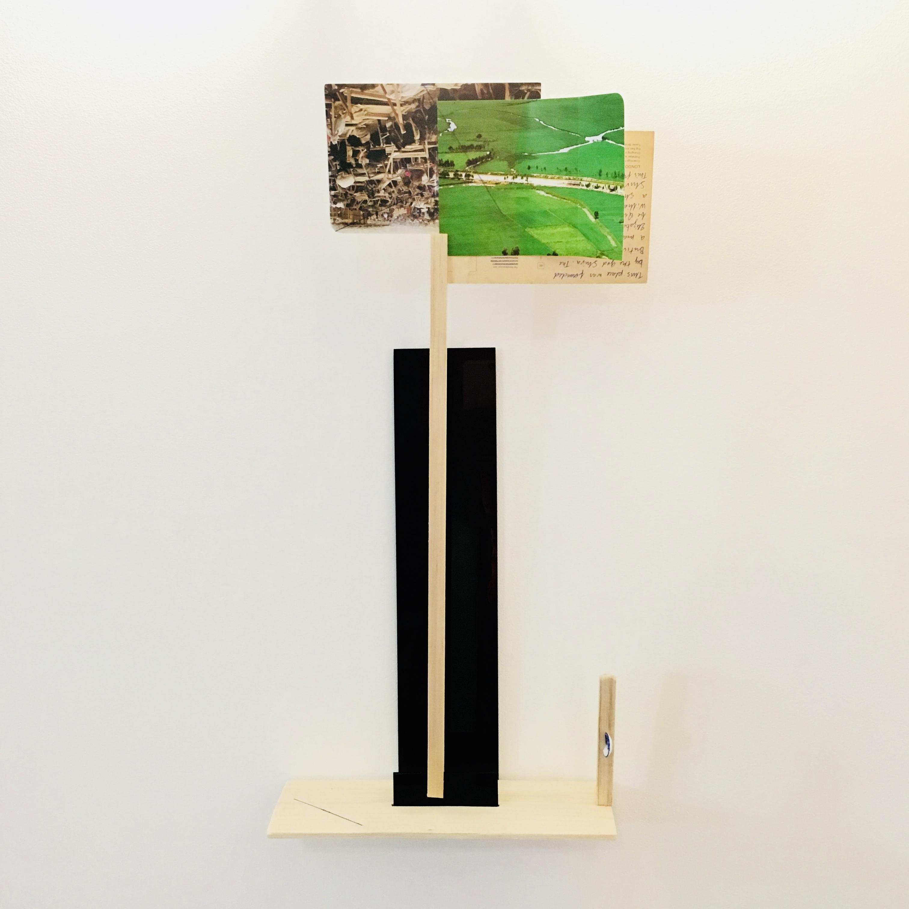 Gê Orthof, Máquinas mínimas, Mekong, Acrílico, postais, balsa, porcelana, desenho-assemblage, 52 x 25 x 9 cm, 2018