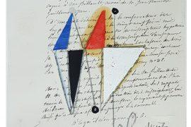 Júlio Villani, Juin, oleo sbore documentos cartoriais, 25x17,5cm, 2016