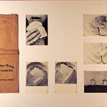 Anna Bella Geiger, O Pão nosso de cada dia, Saco de pão e série de 6 cartões postais, 74 x 79 cm, 1978.