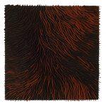 Marcos Coelho Benjamim, Quadrado, Zinco oxidado pintado em laranja e preto, 50 x 50 cm
