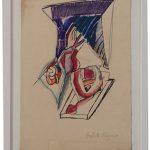Anna Bella Geiger, Série Vicerais, Guache e Nanquim sobre papel, 36 x 26 cm, 1967.