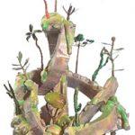 """Bruno Miguel, """"Morro do Polke"""", Isopor, espuma de poliuretano, papel marche, resina acrílica, porcelana fria, arame, partes de móveis antigos tinta á óleo e colorjet, 162 x 95 cm, 2011."""