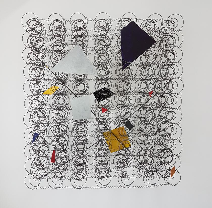 Arthur Luiz Piza, Attrape Reve, Arame galvanizado e zinco pintado em acrilica, 93 x 84 x 25 cm