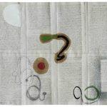 Júlio Villani, alef, óleo sobre documentos cartoriais, 37 x 45 cm, 2016.