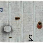 Julio Villani, Alef + 2, Óleo sobre documentos cartoriais, 37 x 45 cm, 2016.