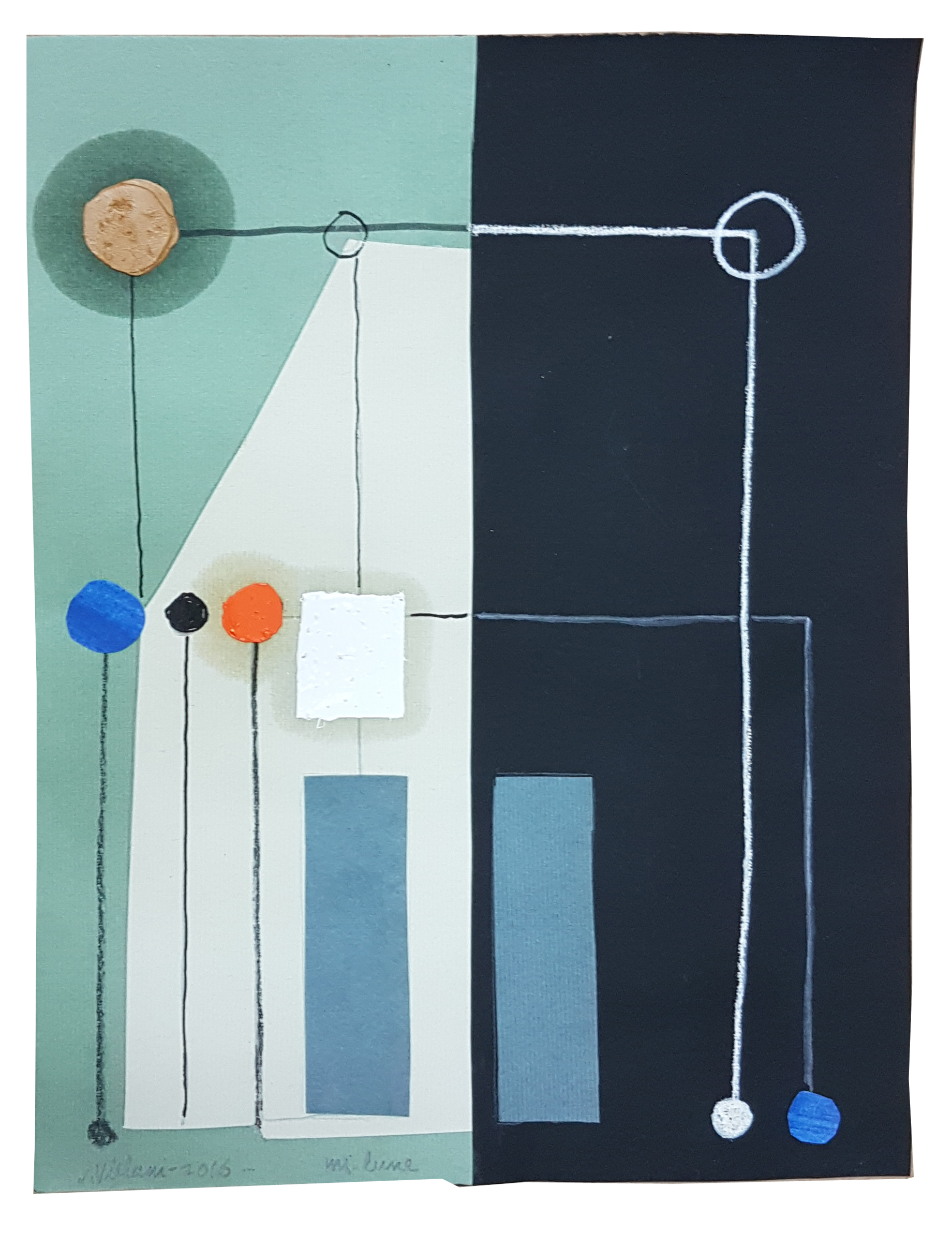Júlio Villani, Mi Lune, óleo sobre papel, 31,5 x 24,5 cm, 2016.