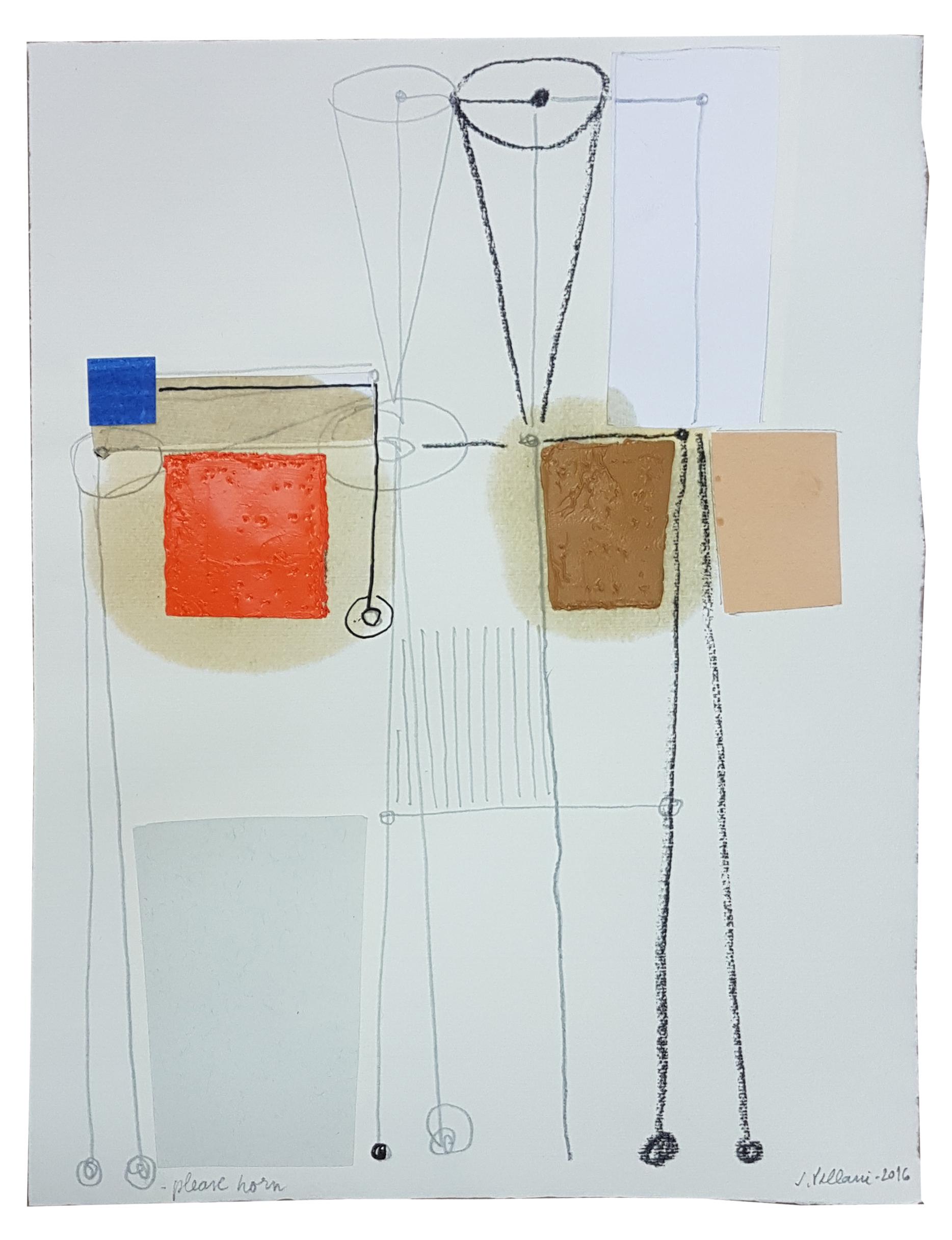 Júlio Villani, Please Horn, óleo sobre documentos cartoriais, 32 x 24,5 cm, 2016.