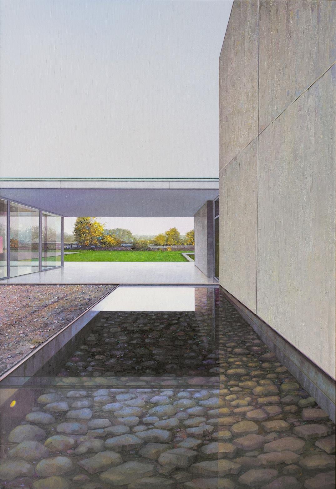 Jens Hausmann, Deutsches Wasser, Oleo sobre Tela, 160 x 110 cm, 2016