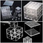 Amélia Toledo, Caixinhas do Sem Fim, Caixas de Acrílico cada uma contendo 8 caixas, cada uma contendo 8 caixas, cada uma contendo 8 caixas, 19 x 19 x 19 cm