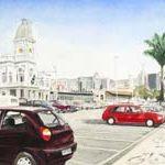 Minha Comunista na Praça da Estação Aquarela s/ cartão 24 x 54 cm, 2002.