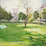 Praça da Liberdade Aquarela s/ cartão 26 x 34 cm, 2001.