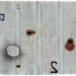 Júlio Villani, Alef +2, Óleo sobre documentos Cartoriais, 37 x 45 cm, 2016