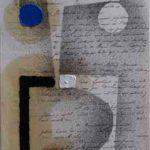 Júlio Villani Hipóthese Óleo sobre Documentos Cartoriais 24 x 18 cm, 2011.