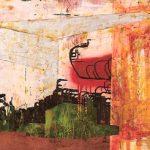 "Bruno Miguel ""Viva o caos(remix)"" Acrílica, colorjet, Esmalte sintético, Pirmer automotívo, Emulsão Fotográfica, Betume, adesivo trans 80 x 110 cm, 2006."