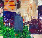 Bruno Miguel Toda a Glória à paisagem industrial de beira de estrada Acrílica, colorjet, Esmalte sintético, Primer automotívo, Emulsão Fotográfica, Betume, adesivo trans 140 x 320 cm, 2012.