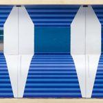 Bob N, Time Blue Line, Elementos diversos sobre capa de catálogo, 39 x 89 cm, 2013.