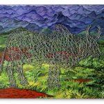 Jorge Duarte Touro Cercado Acrílica e arame farpado sobre tela 138 x 185 cm, 2006.