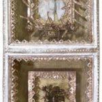 Fernando Lucchesi Divino Duplo Objeto em madeira pintada e colagem 75 x 38 x 20 cm