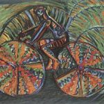 Rubens Gerchman Fast Bike no coqueiral Óleo sobre tela 70 x 100 cm