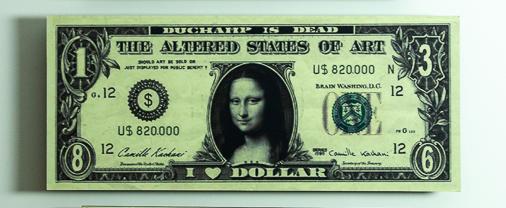 Camille Kachani- I Love Dollar - Série Moeda Vigente, Fotografia Digital sobre MDF, 28 x 68 cm, 2004.
