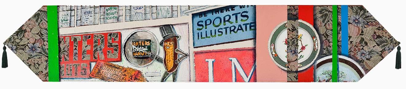 Bruno Miguel, Do Saara a Chinatown, numa narrativa decorativa, me perdi, Tinta a óleo, esmalte sintético, colorjet, tinta acrílica, resina acrílica e caneta à base de óleo sobre toalha de mesa e madeira, 32,5 x 170 cm, 2013