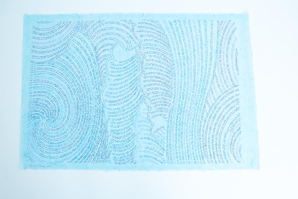 Série Mares, desenho sobre papel de arroz azul, 68x93 cm, 2018