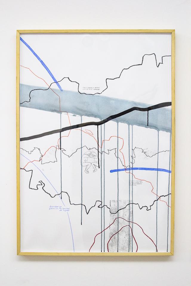 Juliana Gontijo, Sem titulo, acrílica, grafite, pastel oleoso e monotipia sobre papel, 96 x 66cm, 2019