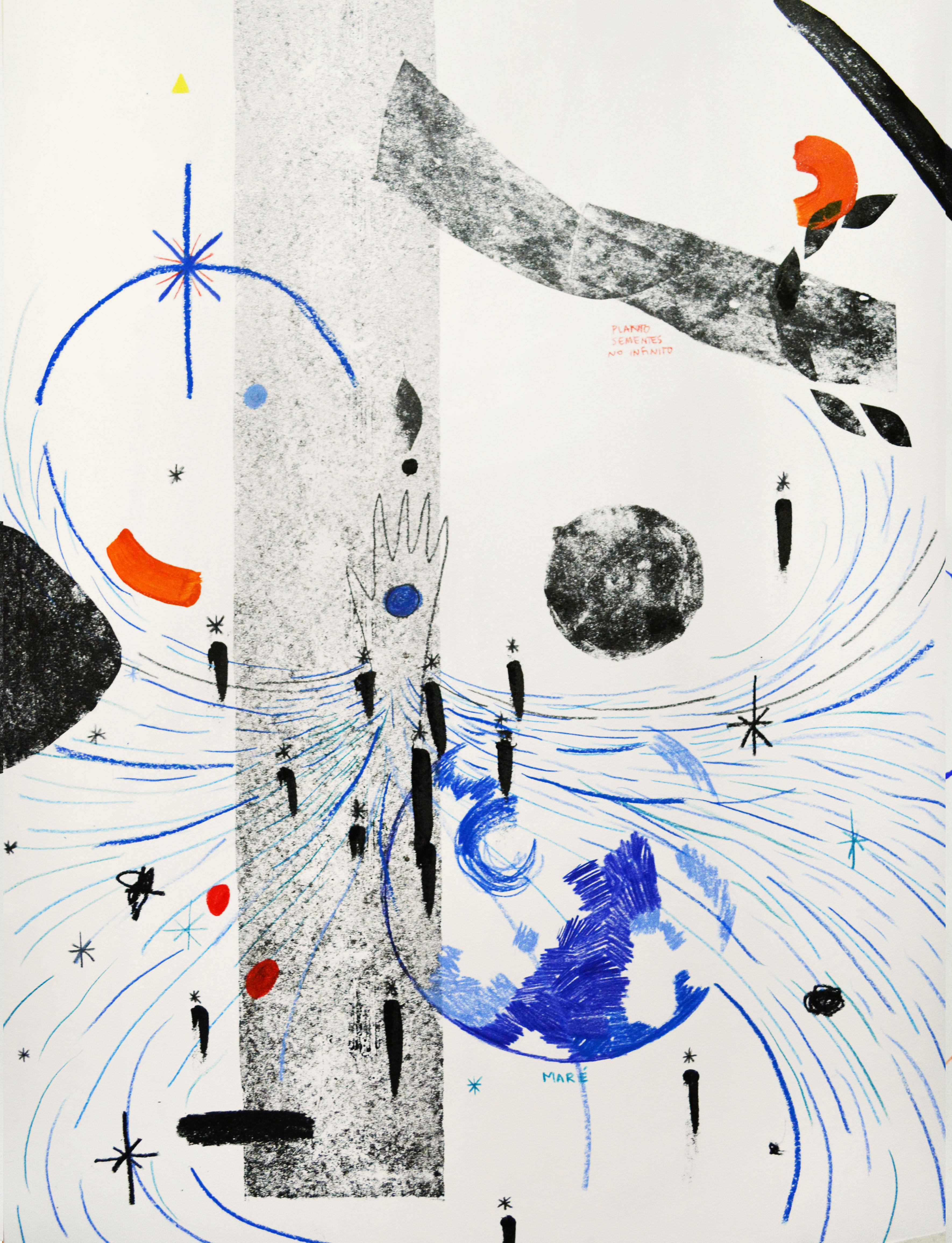 Juliana Gontijo, Geração - Série Procuro o que está atrás das estrelas, Monotipia, lápis de cor e tinta acrílica sobre papel, 46 x 66 cm, 2020