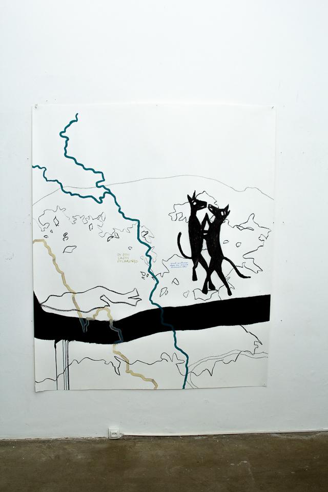 Juliana Gontijo, Os bichos, Acrílica e pastel oleoso, grafite, lápis de cor, monotipia com tinta preta e dourada sobre papel, 180 x 150 cm, 2019