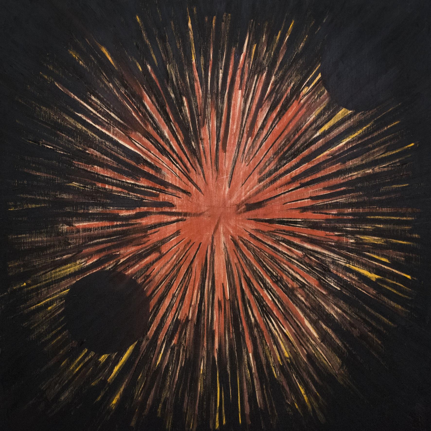 Juliana Gontijo, Explosão de estrelas, Pastel seco, pastel oleoso e tinta a óleo sobre madeira, 80 x 80 cm, 2019
