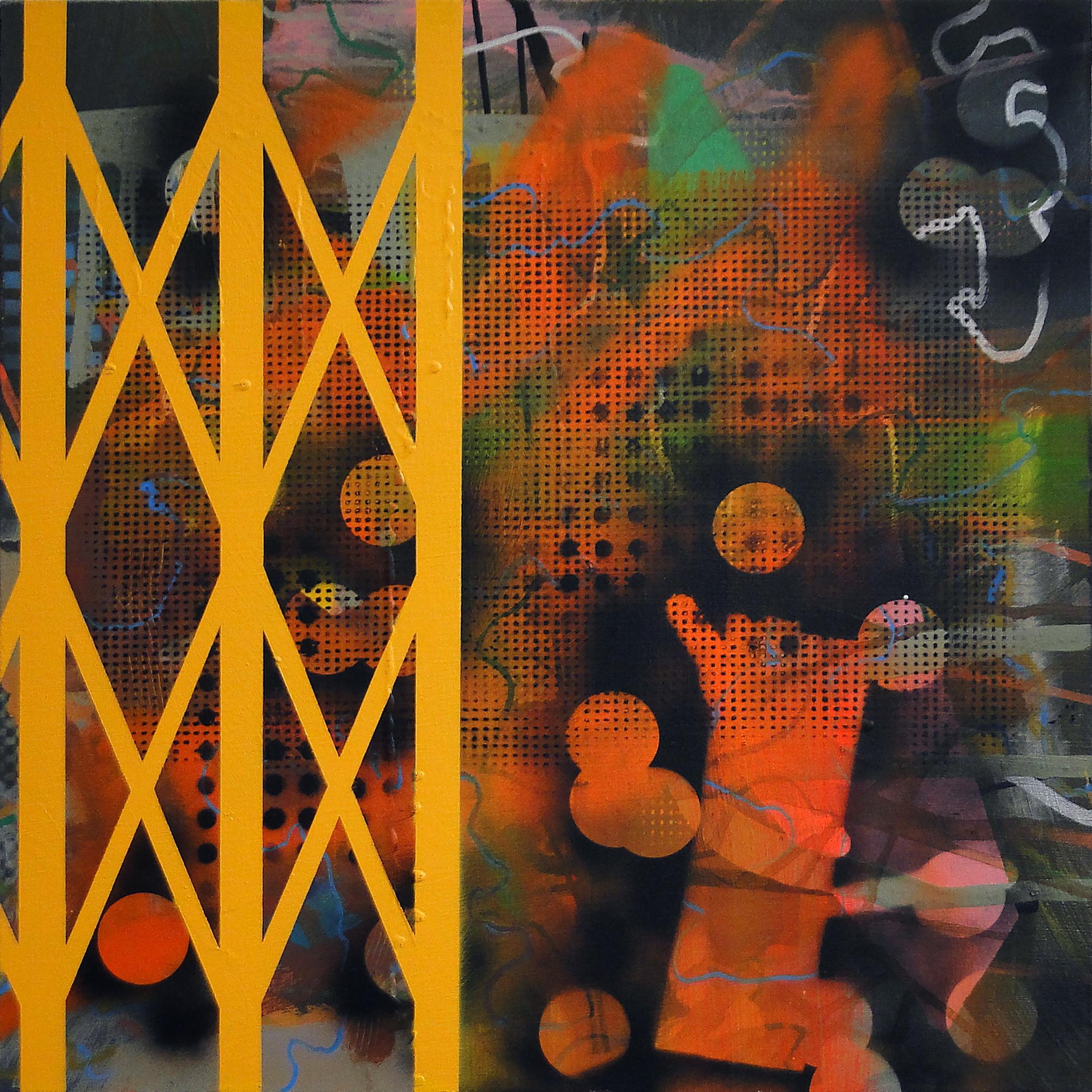 Heleno Bernardi, Sem Título, Acrílica e spray sobre tela, 50 x 50 cm