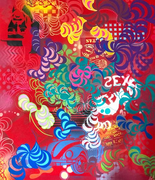 Sem título, Spray, acrílica e posca sobre tela,130 x 100 cm