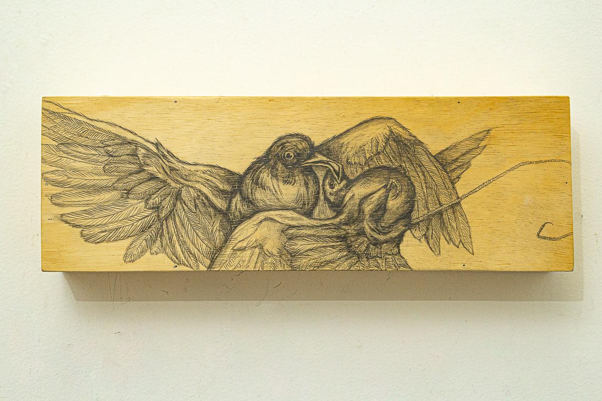 Vítor Mizael, Sem Título, Grafite sobre madeira, 20 x 60 x 10 cm, 2015