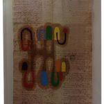 Júlio Villani, Joana e a trepadeira, Óleo sobre documentos Cartoriais, 65 x 42 cm