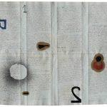 Júlio Villani, Malef +2, Óleo sobre documentos Cartoriais, 37 x 45 cm, 2016