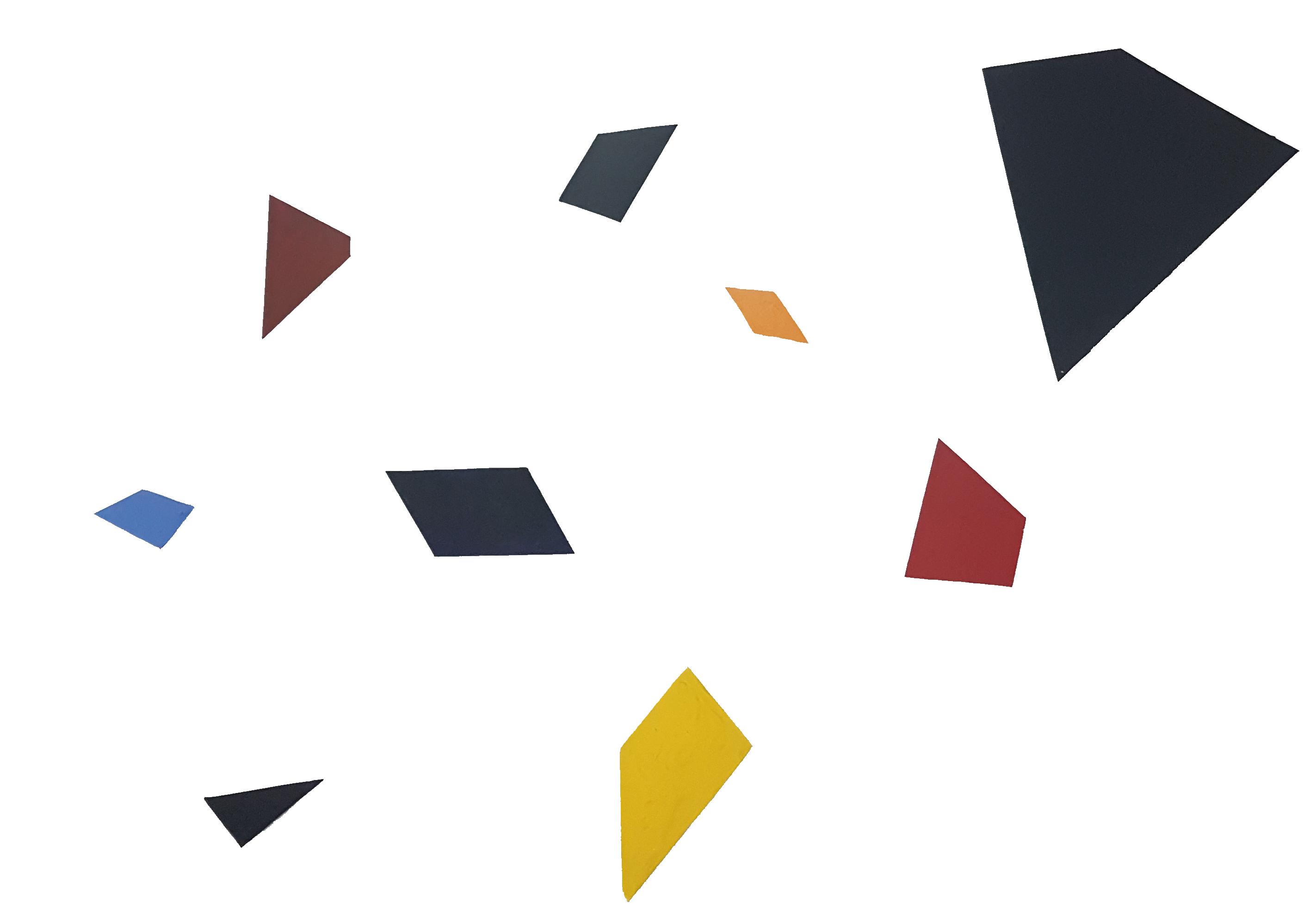 Arthur Luiz Piza, Particules Libres, Conjunto de 9 elementos de zinco pintado em acrílica, dimensões diversas