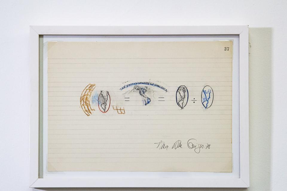 Equação, Frottage, Grafite e lápis de cor sobre folha de caderno, 22 x 32 cm, 1978.