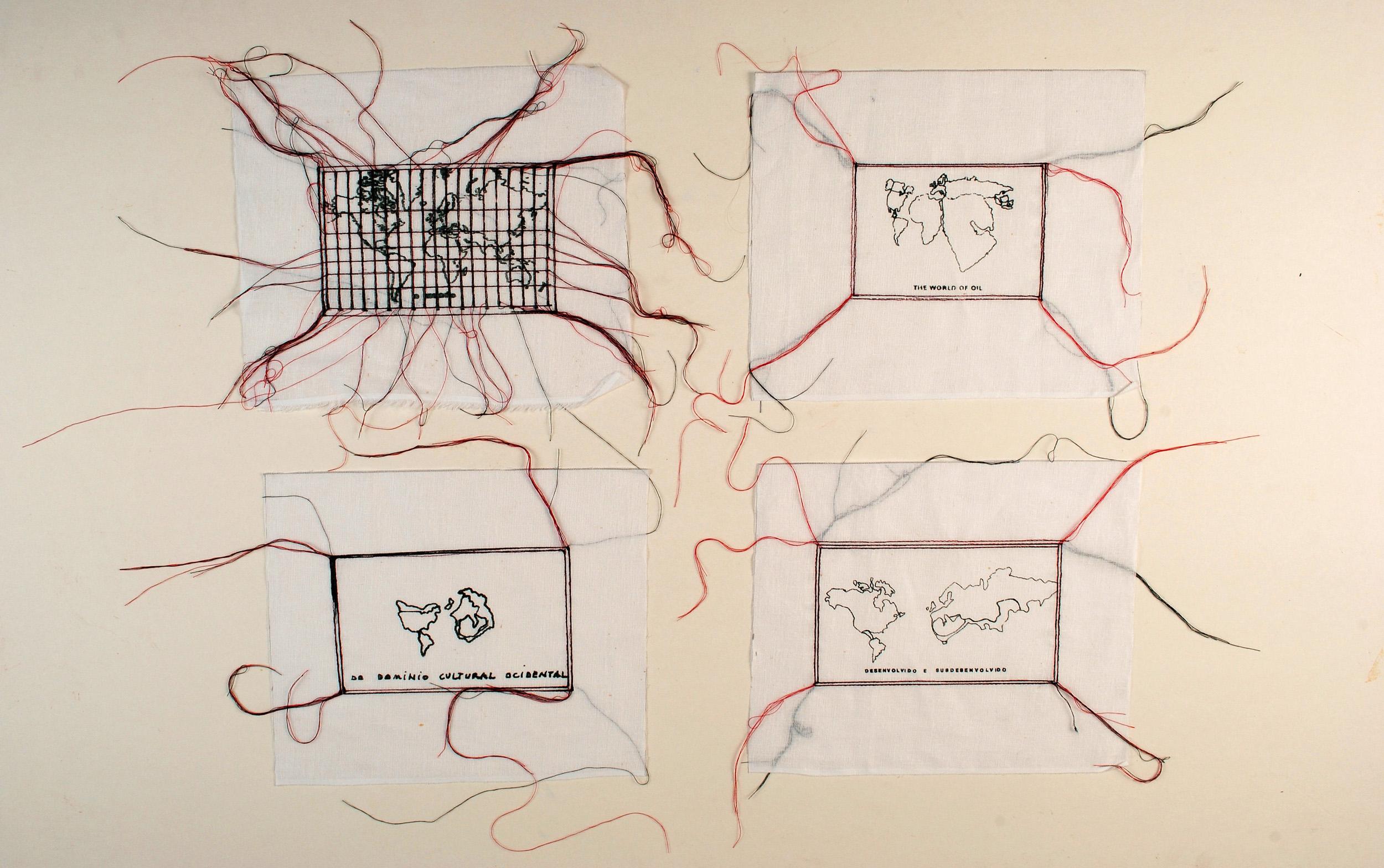 Anna Bella Geiger, Variáveis, Serigrafia e Bordado à maquina sobre linho, 56 x 62 cm, 1978/2009.